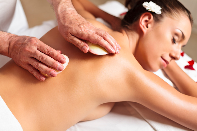 Spa and wellness herbal massage with shells - monte mare
