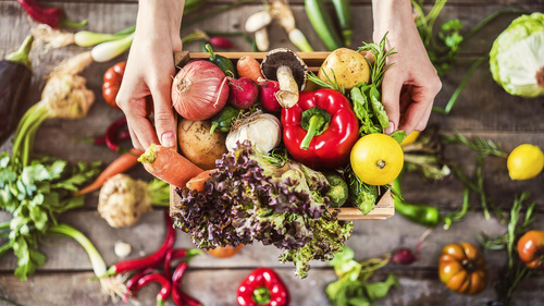Organic vegetables healthy nutrition concept on wooden background - monte mare