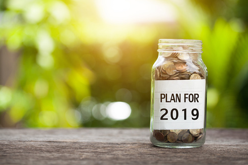 Plan For 2019 Word With Coin In Glass Jar. - monte mare