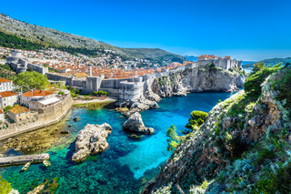 Croatia landscape cityscape Dubrovnik. / Aerial panoramic view at famous european travel destination, Dubrovnik cityscape on Adriatic Coast, Croatia. - monte mare