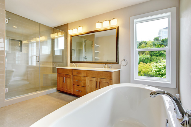 Bathroon  with vanity cabinet and shower area with glass doors - monte mare